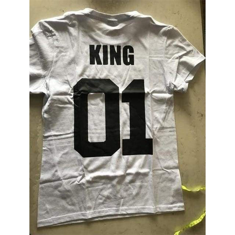 Queen King letter O Neck Short Sleeve Cotton Blend Thin Lovers T-Shirt