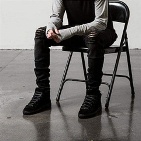 Ripped Biker Slim Jeans Motorcycle Style Elastic Mens Slim Fit Washed Jean Pants