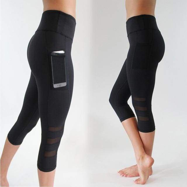 Self-Cultivation Slim Mesh Hidden Pocket Sports Fitness Leisure Quick-Drying Fitness Leggings Pants-Moolokai Apparel-Black-L-Moolokai Apparel