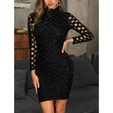 Sexy Evening Gown Black Long Sleeve Sexy Elegant Lady Hollow A-line Short Party Night Dress