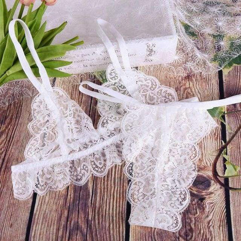 Sexy Lace Transparent High Waist G-string Underwear Panty Lingerie Set