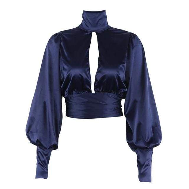 Sexy Lace Up Bow Satin Turtleneck Backless Blusas Women Puff Sleeve Crop Top Blouse - Moolokai Apparel