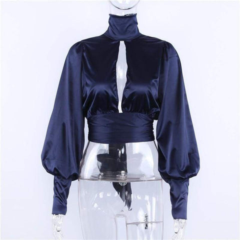 Sexy Lace Up Bow Satin Turtleneck Backless Blusas Women Puff Sleeve Crop Top Blouse