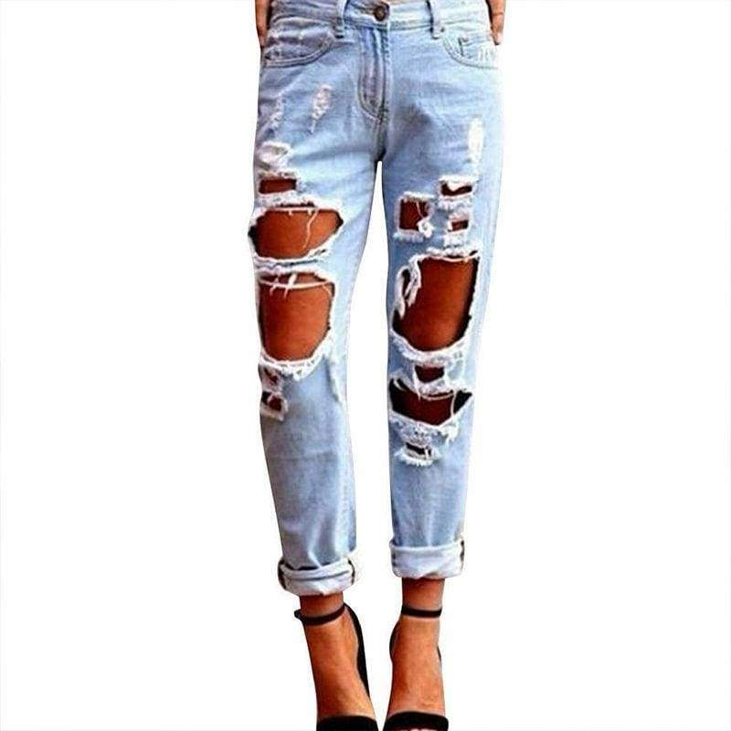 Sexy Summer High Waist Destroyed Ripped Distressed Slim Cool Denim Boyfriend Trousers Blue Jeans - Moolokai Apparel