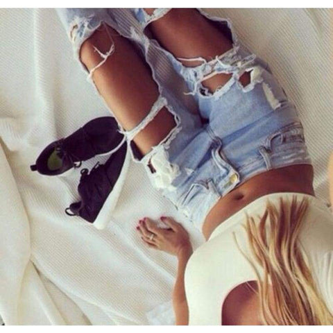 Sexy Summer High Waist Destroyed Ripped Distressed Slim Cool Denim Boyfriend Trousers Blue Jeans