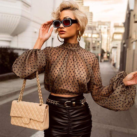 Sexy Women Perspective Mesh Clothes Polka Dot Long Sleeve Crop Top Gothic Blouse Top