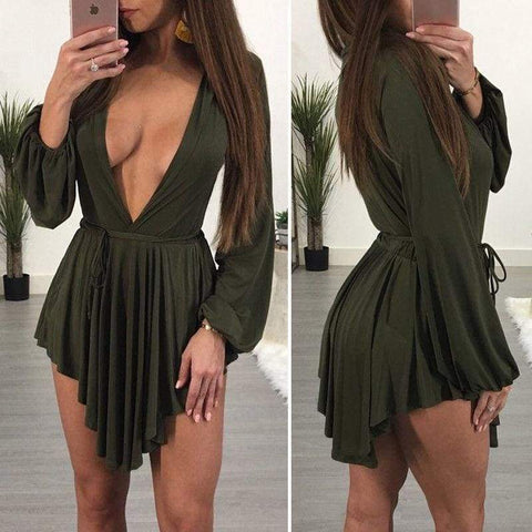 Sexy Womens Evening Party Exotic Deep V Neck Summer Loose Mini Dress