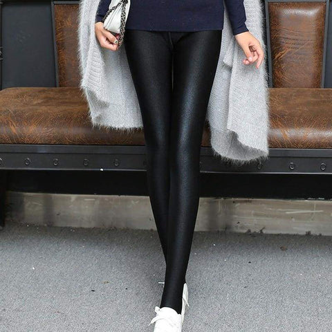 Shiny Style Thin Ankle Length Black Stretchy High Waist Satin Basic Leggings