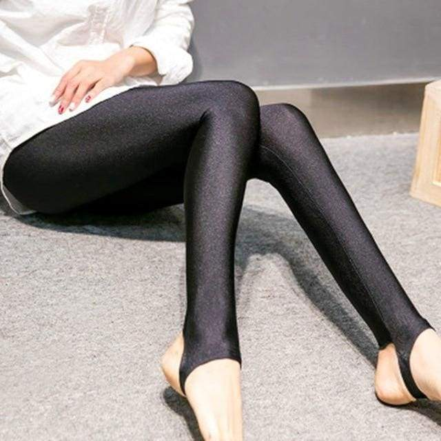 Shiny Style Thin Ankle Length Black Stretchy High Waist Satin Basic Leggings - Moolokai Apparel
