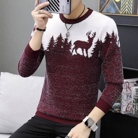 Sika Deer Pattern Casual Knitted Pullovers Slim Fit Christmas Male Gift Sweater - Moolokai Apparel