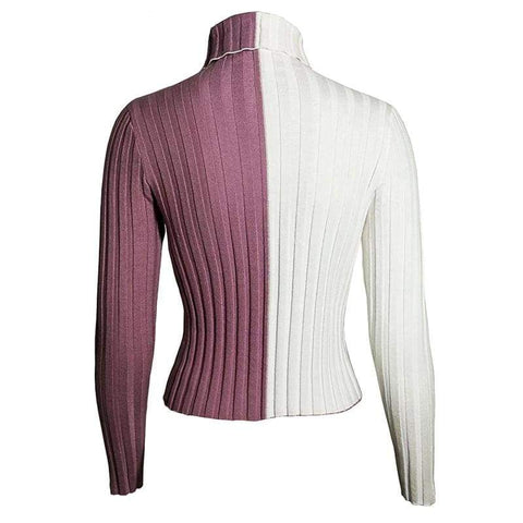 Simenual Patchwork Women's Turtleneck Pullovers Autumn Knitting Skinny Sexy Cropped Lady's Sweater