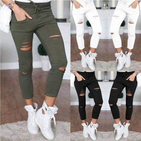 Skinny Ripped Knee Hole Bandage Solid Color Pants High Waist Stretch Slim Pencil Trouser Jeans