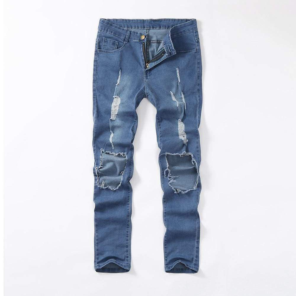 Skinny Stretch Denim Distressed Ripped Freyed Slim Fit Trousers Hole Pencil Pants Mens Jeans - Moolokai Apparel