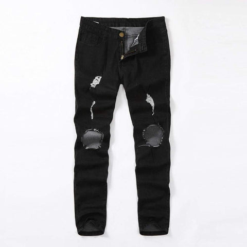 Skinny Stretch Denim Distressed Ripped Freyed Slim Fit Trousers Hole Pencil Pants Mens Jeans
