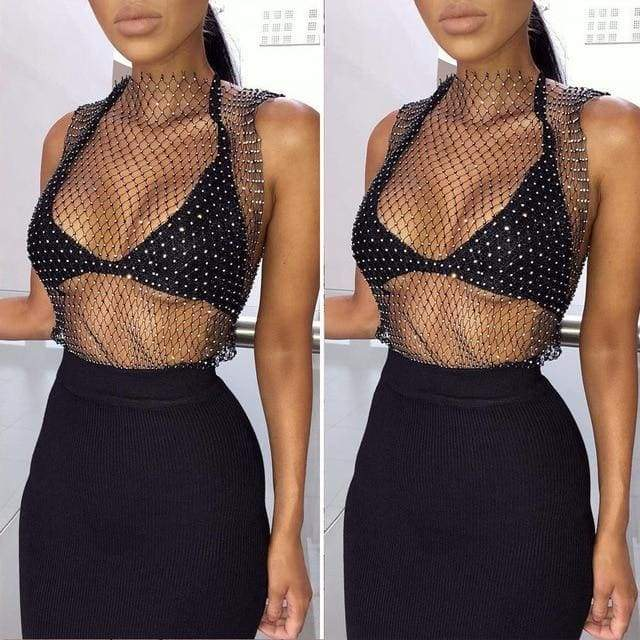 Sleeveless Mesh Rhinestone Party Cocktail Crop Tops Vest - Moolokai Apparel