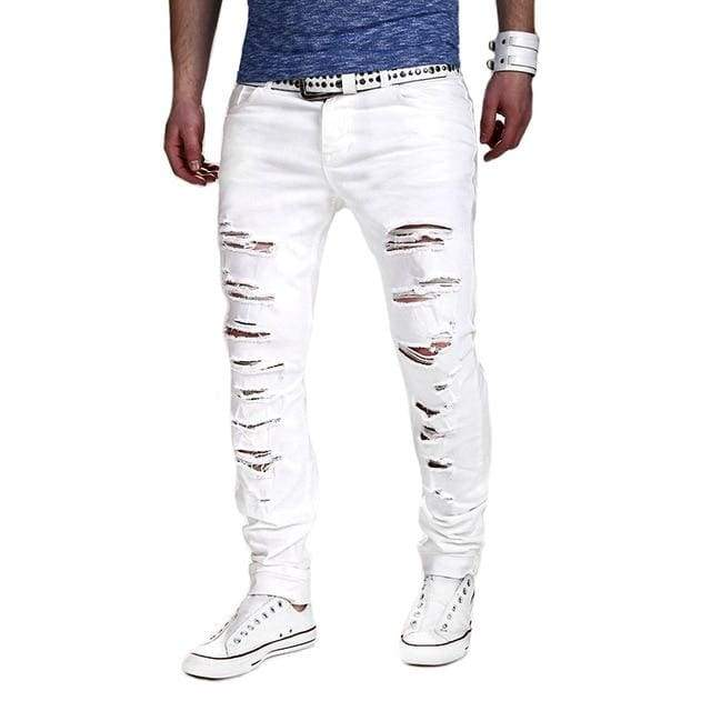 Solid White Men Sexy Ripped Hole Distresses Washed Skinny Jeans - Moolokai Apparel