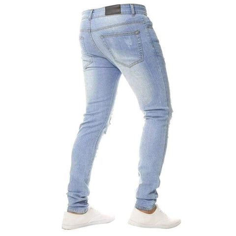 Solid White Men Sexy Ripped Hole Distresses Washed Skinny Jeans