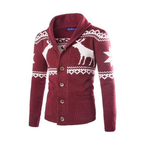 Spring Autumn Warm Christmas Fashion Deer Printed Jacket Casual V Neck Collar Knitting Men Cardigan / cardigans Christmas fall men winter
