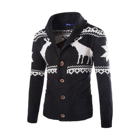 Spring Autumn Warm Christmas Fashion Deer Printed Jacket Casual V Neck Collar Knitting Men Cardigan