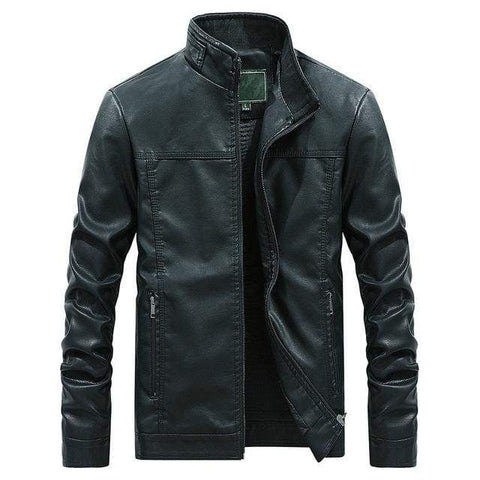Stand Collar White Pu Leather Biker Motorcycle Mens Long Sleeve Faux Leather Moto Casual Jacket