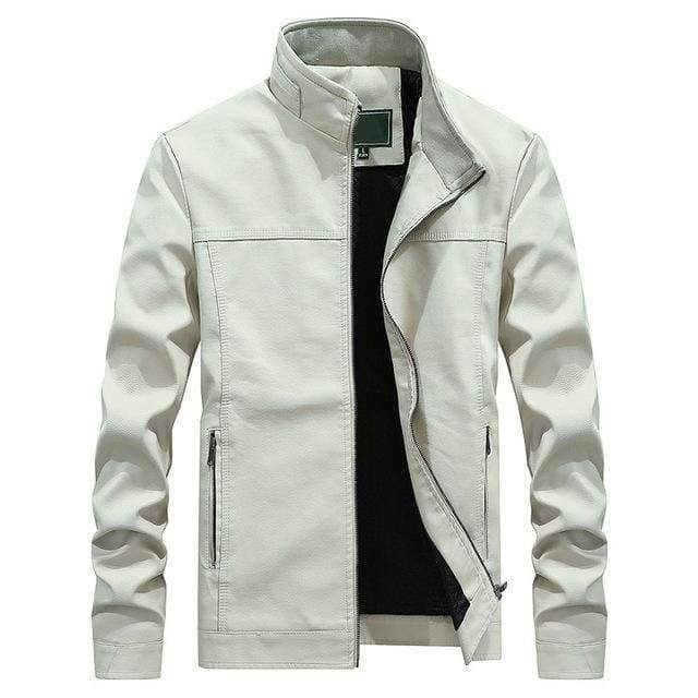 Stand Collar White Pu Leather Biker Motorcycle Mens Long Sleeve Faux Leather Moto Casual Jacket - Moolokai Apparel