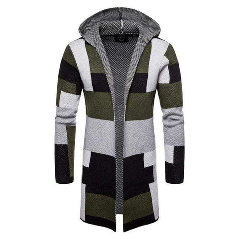 Striped Cardigan Coat Sweaters Hooded Cloak Long Windbreaker Knitted Sweater
