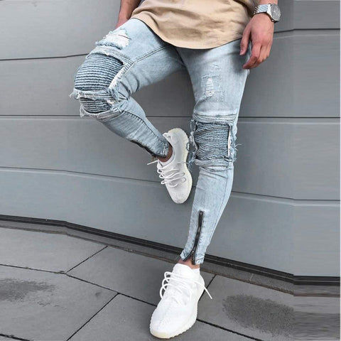 Stylish Ripped Biker Skinny Slim Straight Frayed Denim Trousers skinny men Jeans - Moolokai Apparel