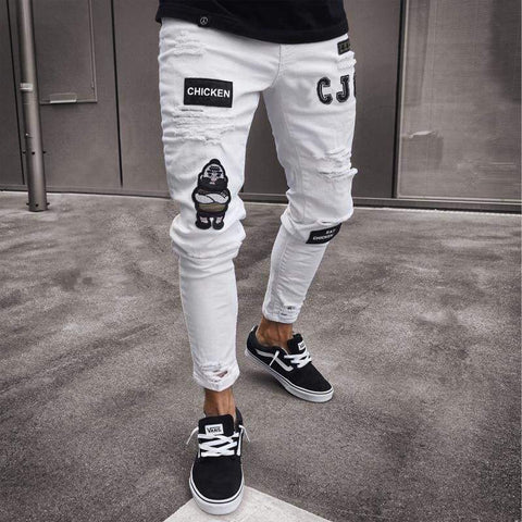 Stylish Ripped Pants Biker Skinny Slim Straight Frayed Denim Trousers Jeans - Moolokai Apparel