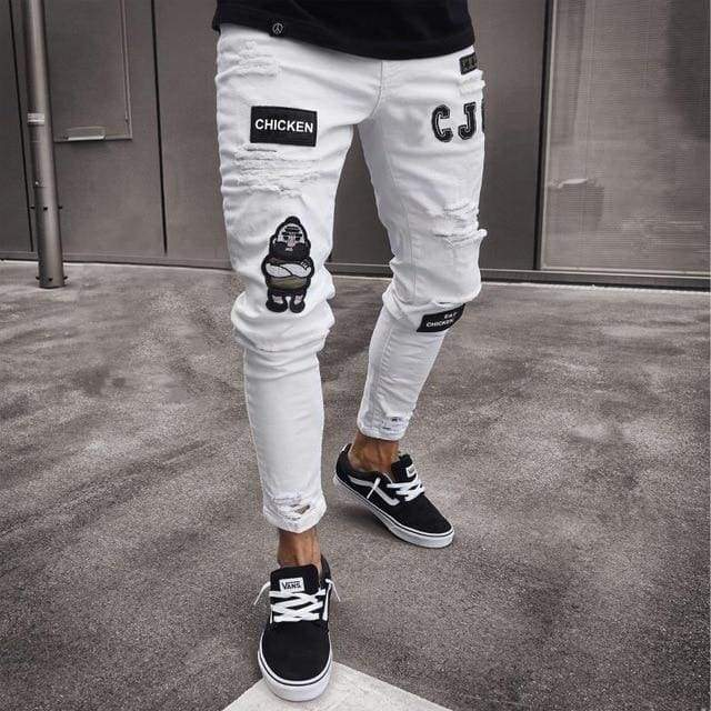 Stylish Ripped Pants Biker Skinny Slim Straight Frayed Denim Trousers Jeans-Moolokai Apparel-white-S-Moolokai Apparel