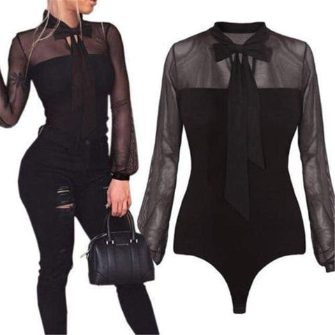 Summer Bodysuit Sexy Bow Mock Neck Patchwork Long Sleeve Lace Mesh Transparent Tops