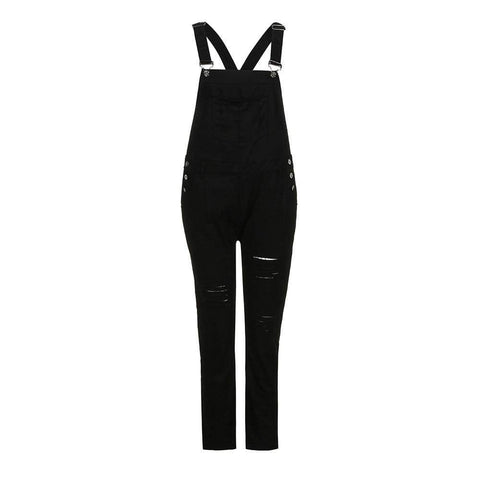 Summer Slim Denim Bodysuit Ripped Casual Straps Jumpsuit Trousers Overalls