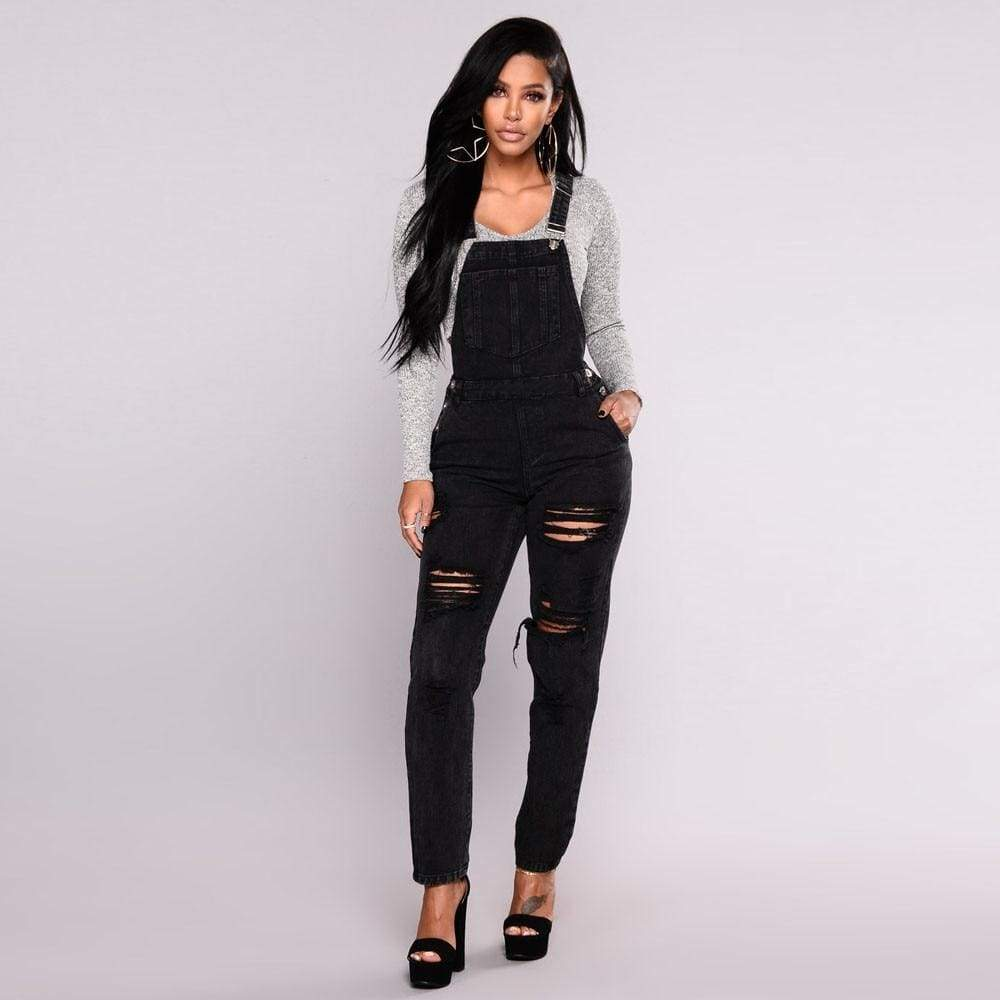Summer Slim Denim Bodysuit Ripped Casual Straps Jumpsuit Trousers Overalls - Moolokai Apparel