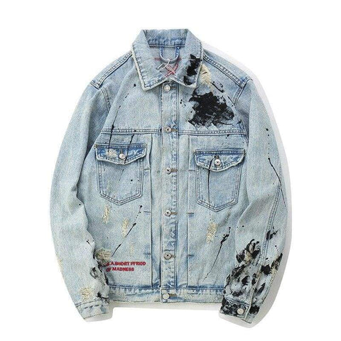 Tide Graffiti Denim Casual Patchwork Ripped Distressed Punk Rock Jeans Coats Outwear Jacket