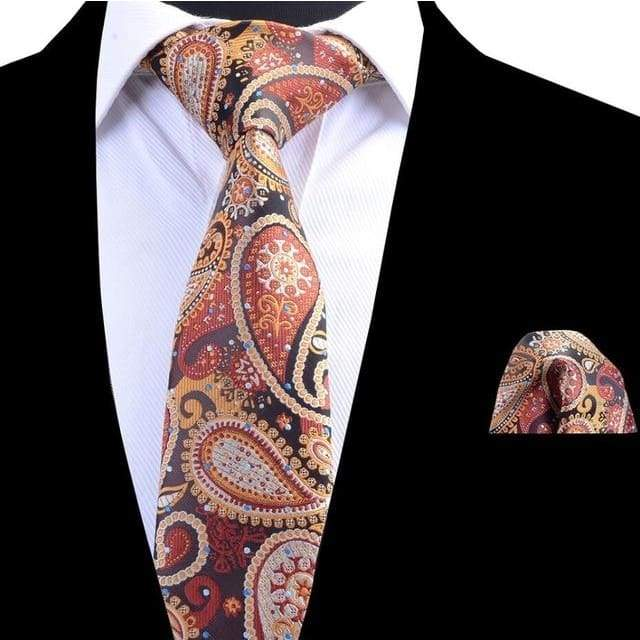 Tie Set Classic 8cm Necktie and Handkerchief Paisley Ties Pocket Square Tie Set - Moolokai Apparel