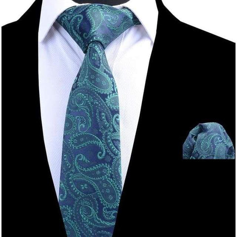 Tie Set Classic 8cm Necktie and Handkerchief Paisley Ties Pocket Square Tie Set