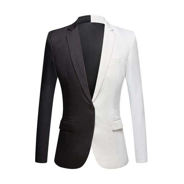 White & Black Casual Mens Stage Singers Costume Slim Fit Party Prom Suit Blazer Jacket - Moolokai Apparel