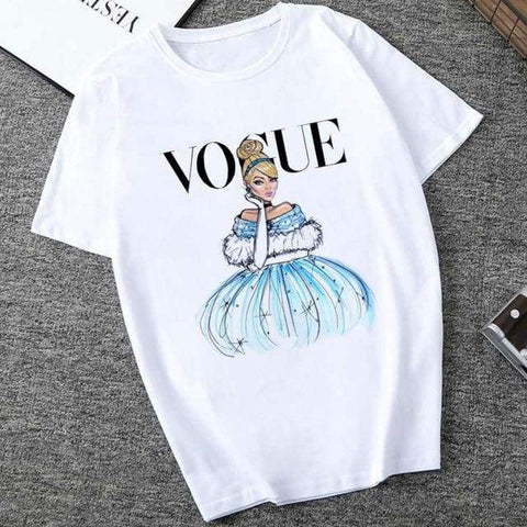 White VOGUE Lady Harajuku Print Summer Short Sleeve Fashion Streetwear Shirts / short sleeves woman