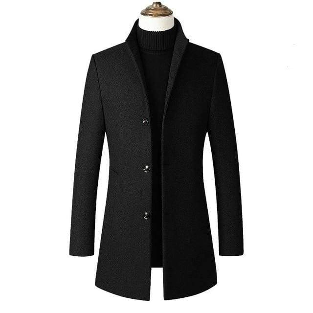 Windbreaker Long Overcoat Men Trench Coat Stand Collar Slim Casual Black Wool Jacket - Moolokai Apparel