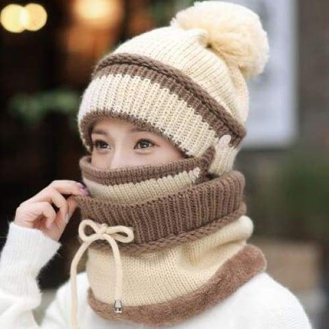Winter Beanie Hat Scarf and Mask Set 3 Pieces Thick Warm Knit Women Cap / hats winter woman