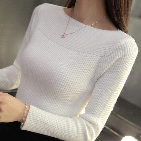 Winter Collar All-Match Long Sleeved One-Neck Slim Thread Tight Pullover Sweater / business sweaters woman