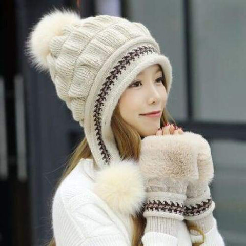 Winter Female Autumn Winter Toe Cap New Warm Gloves + Knit Hat / hats winter woman
