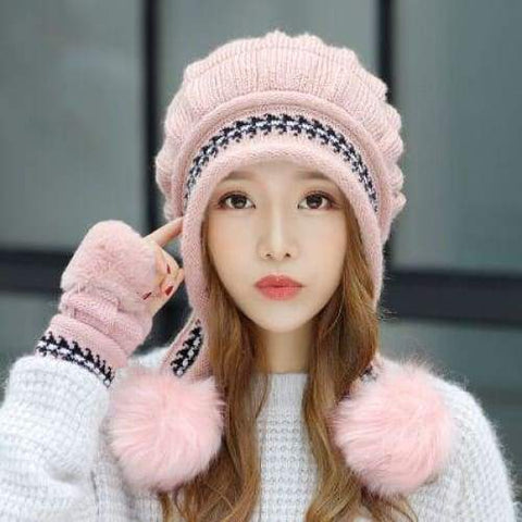 Winter Female Autumn Winter Toe Cap New Warm Gloves + Knit Hat