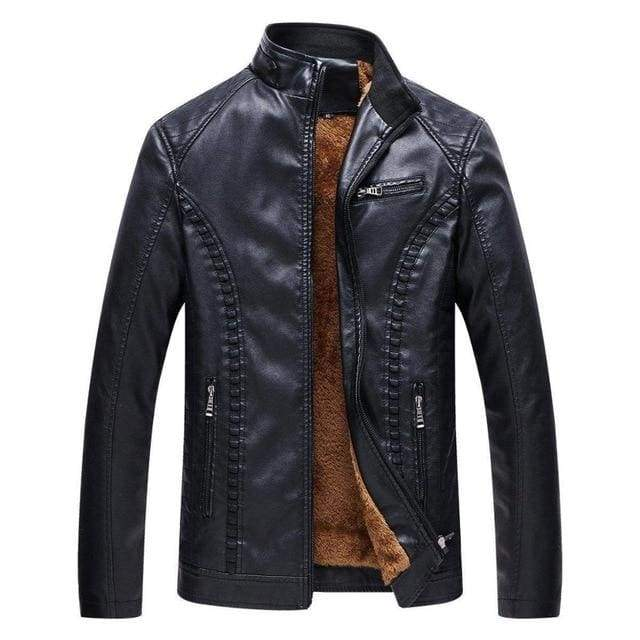 Winter Leather Mens Motorcycle Keep Warm Leather Fleece Jacket - Moolokai Apparel