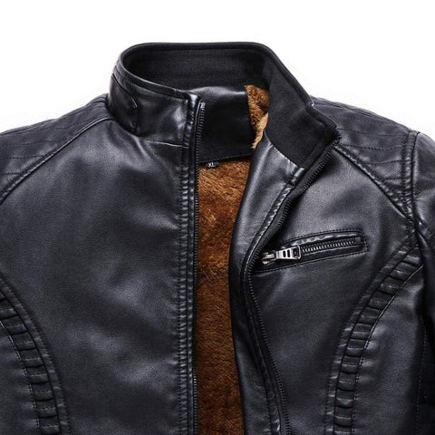 Winter Leather Mens Motorcycle Keep Warm Leather Fleece Jacket