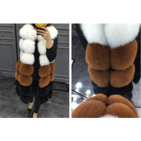 Winter Women's Fur Warm Long Vests Outerwear Coat Jacket