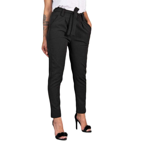 Women High Waist  Loose Trousers Harem office Bandage Elastic Waist Stripe Casual Pants