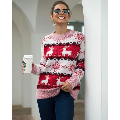 Xmas Women Pullover Deer Elk Knitted Thick Christmas Ladies Sweater