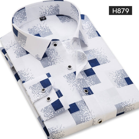 Casual Spring Long Sleeve Solid Print High Quality Social Dress Shirt