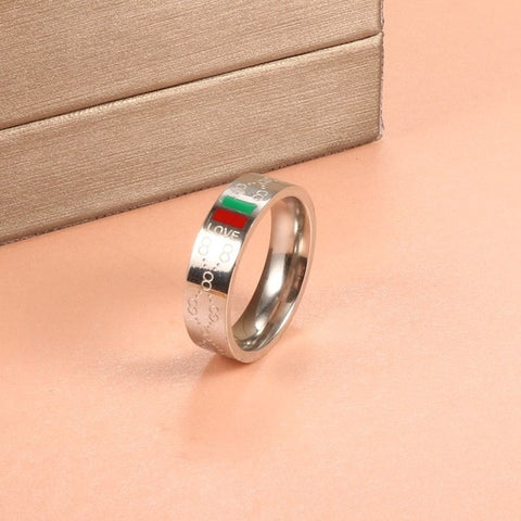 Stainless Steel Round Titanium Promise Ring Party Gift Engagement Jewelry
