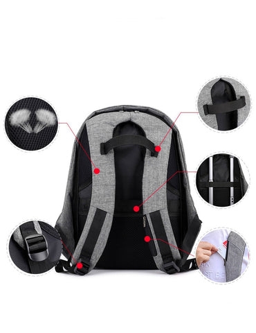 Anti-theft Laptop Rucksack Travel Bag Large Capacity Business USB Charge Shoulder Backpack